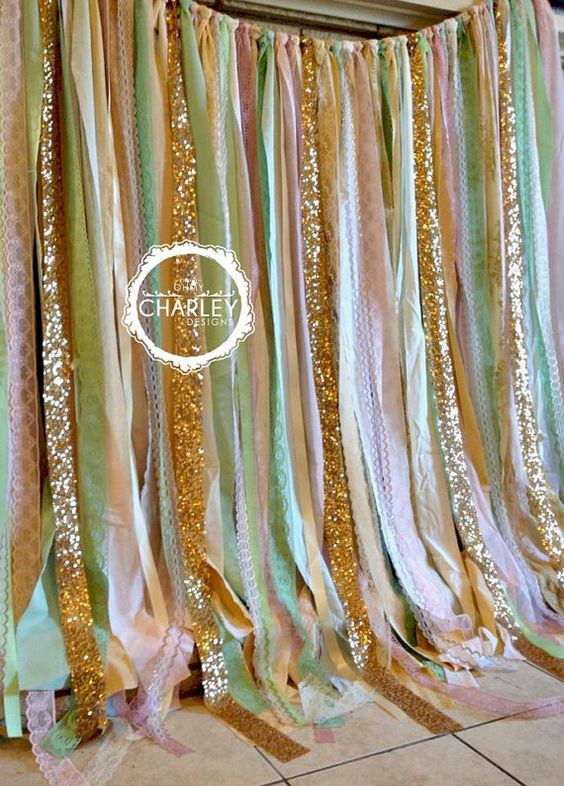Pink Mint Gold Sparkle Sequin Fabric Backdrop with Lace - Wedding Garland, Photo Prop, Curtain, Baby Shower, Crib Garland: