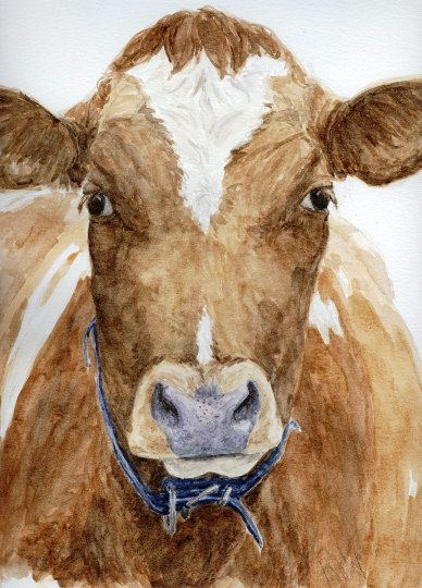 Hey, I found this really awesome Etsy listing at https://www.etsy.com/listing/255902019/cow-stare-painting-watercolor-cow-farm