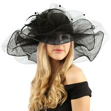 "Flirty Netted Overlay Simamay Feathers Derby Floppy 6"" Wide Brim Dress Hat Black http://ift.tt/1iFcTMU"