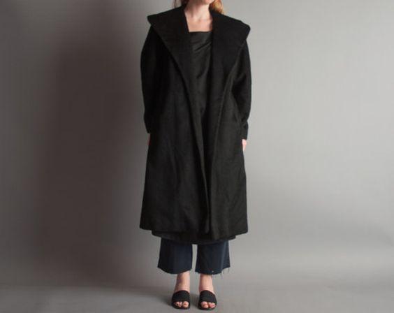 SALE trial by order wool coat / black by persephonevintage
