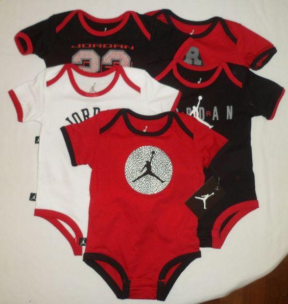 NWT NIKE Air JORDAN Baby Boys Bodysuits Romper Shirt Lot Set Clothes SZ 3-6M $20.50