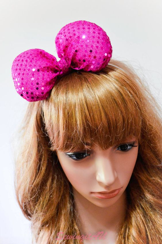 Hot pink poofy bow headband/puff large big party by SewingitAU