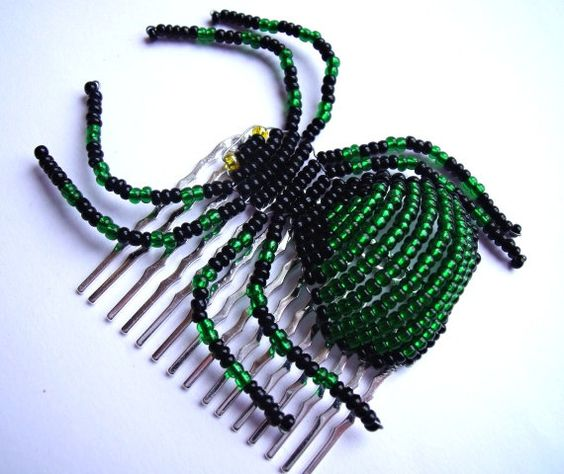 Green Beaded Spider HairSlide - Cynthia
