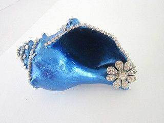 pearly blue conch shell with rhinestones | by agapi sea glass