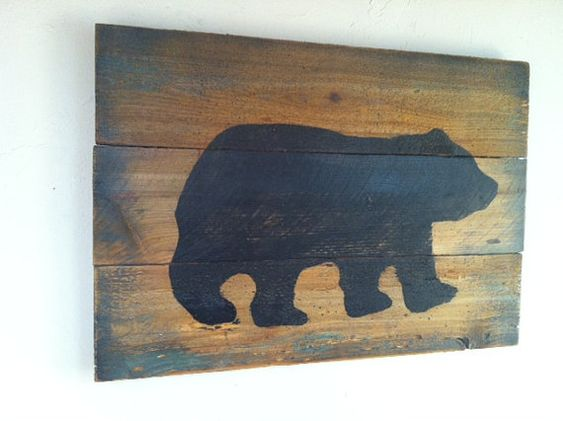 Large Rustic Black Bear on Wood Hand Painted by TuckersMercantile, $42.95 #Baylor #SicEm