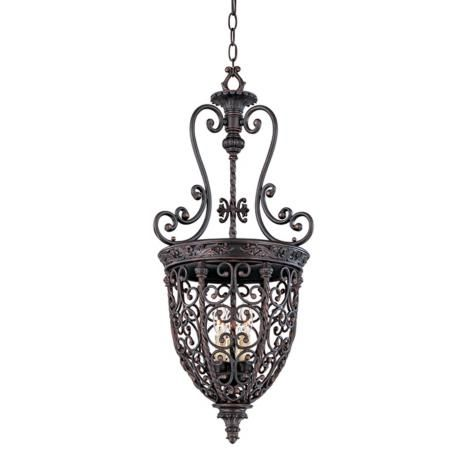 Open Scroll Cage Rubbed Bronze Finish Foyer Chandelier franklin iron works  lamps plus