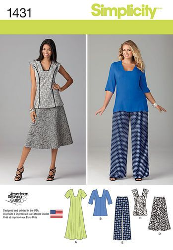 Misses' and Miss Plus Dress or Tunic, Pants and Skirt: