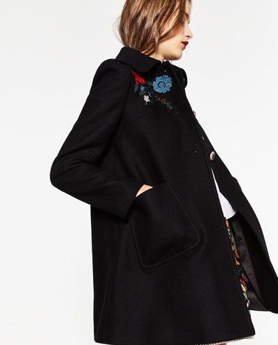 Image 5 of COAT WITH EMBROIDERED YOKE from Zara