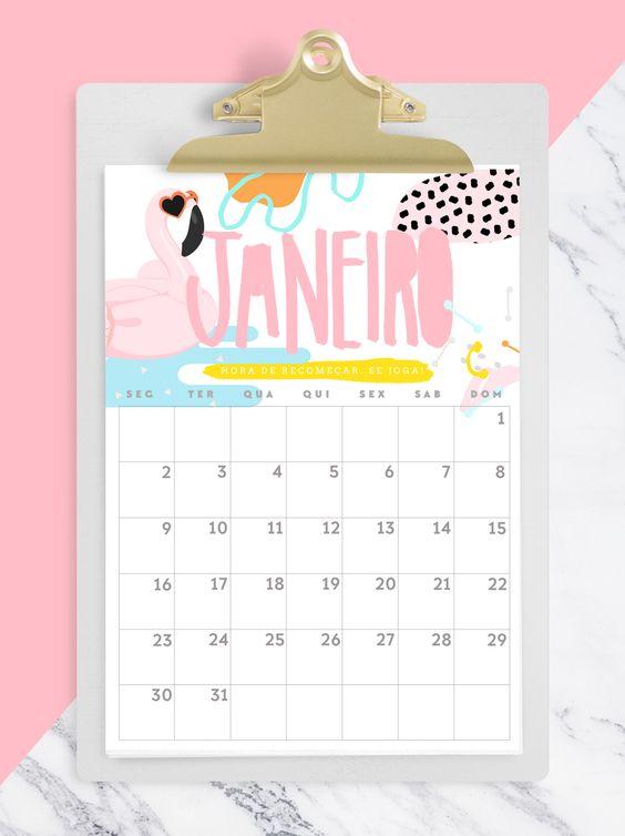 FREEBIE: CALENDARIO 2017 janeiro / flamingo - www.blogdomath.com.br - insta @mathdoblog: