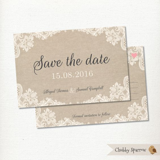 Lace & Linen Save the Date Postcard Wedding Engagement  – Print at home – Vintage, Rustic and Romantic by ChubbySparrow on Etsy
