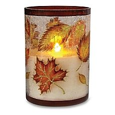 image of Loft Living Glass Flameless LED Harvest Pillar Candle with Timer