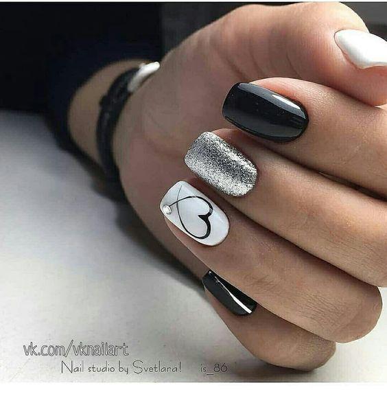 Black White And Silver Nails Miladies Net Bridal Nail Art Valentines Nails Pretty Nails