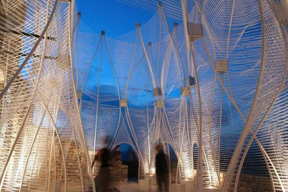Windshape Institutional Two wind-responsive pavilions, Lacoste, France 2006  By Narchitects: