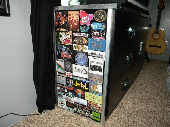We dressed up plain black dresser with road case handles, some stickers and trim--it fit right in!