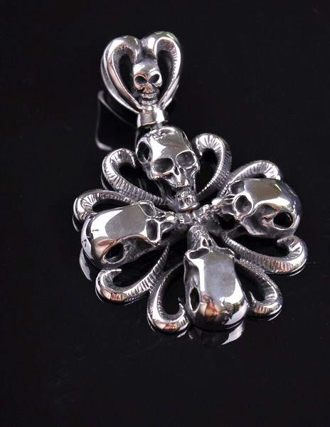 Vintage Flower Skull 316L Stainless Steel Pendant Necklace
