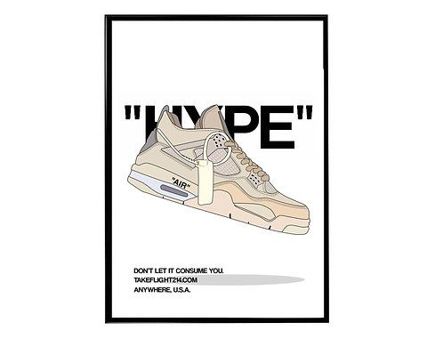 Off White x Air Jordan 4 Sail Sneaker Poster, Hypebeast Poster ...