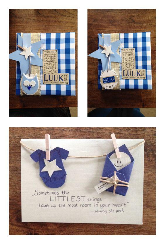 Kraamcadeau canvas met geboortedetails verwerkt in de voorletter achterop de uil het for Idee deco slaapkamer baby jongen