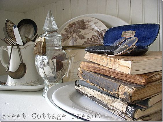 I love the addition of the reading glasses to the old books (from Sweet Cottage Dreams)