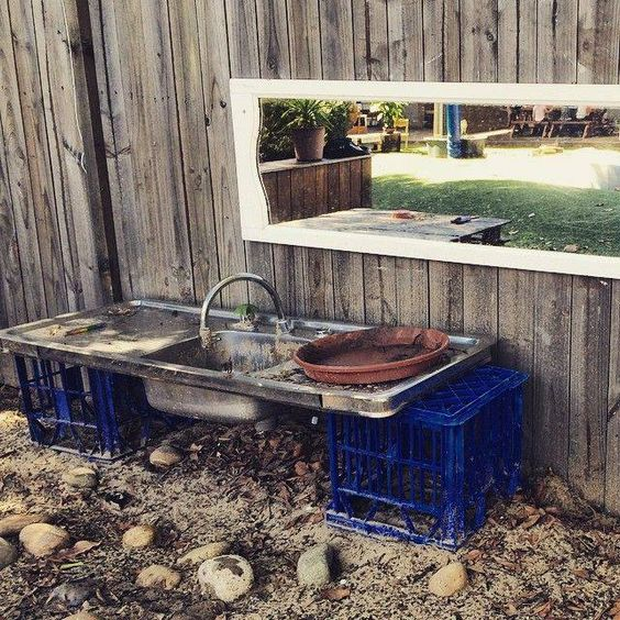 Love This Simple Outdoor Kitchen With The Mirror