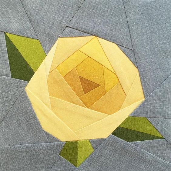 Free Quilt Pattern: Rose Paper Piecing Quilt Block Pattern Quilt Blocks and Patterns Pinterest