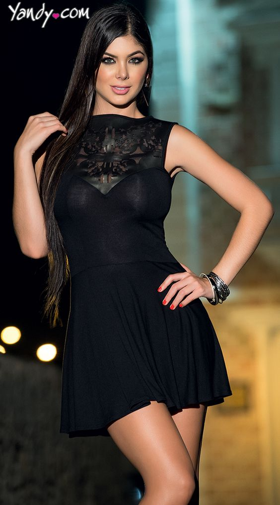 Mini Black Dress With Leather Neckline