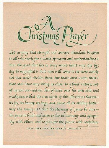 1963 New York Life Insurance Christmas Prayer print ad