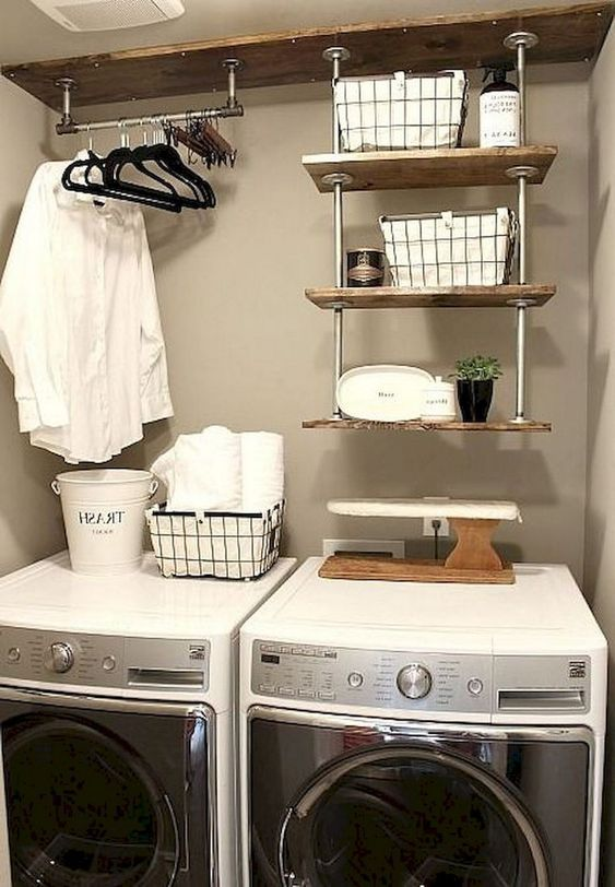18 Small Laundry Room Hanging Clothes Organization Ideas Laundry Room Decor Laundry Room Storage Farmhouse Laundry Room