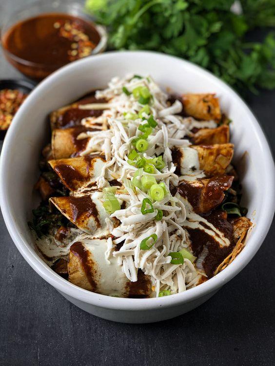 Poblano and Mushroom TexMex Enchiladas