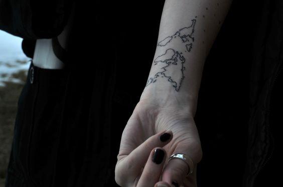 world: Wrist Tattoo, Tattoo S, Tattoo Placement, Continent Tattoo, World Maps, Body Art, Tattoos Piercings, Map Tattoos, Travel Tattoo