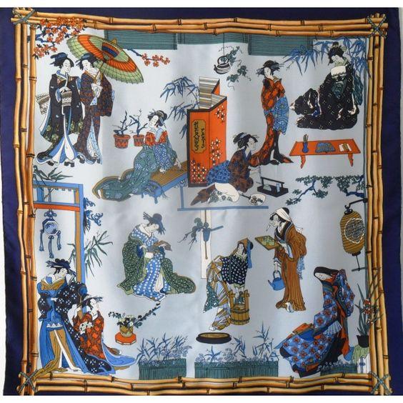 Foulard Carré en Soie, pas cher, sjaal, Scarf, Tuch, écharpe, scarpa, seidentuch, seda, seta, geisha, geishas, hermès