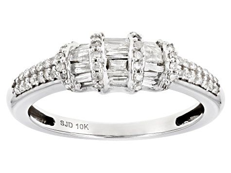 White Diamond 10k White Gold Ring 0 50ctw Cdg261 In 2020 White Gold Rings White Gold Ring Band White Gold