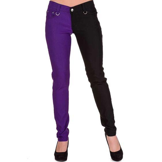 Night After Night split skinny jeans broek zwart/paars - Glamrock Punk Emo