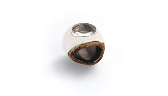 DOT. Ring: I am sentimental if you know what I mean, love the pieces but can't stand the scene, 2016. Cacholong, reconstructed agat,  fine silver, glass, borax, charcoal and lead. Photo by: Nima Ashrafi.: