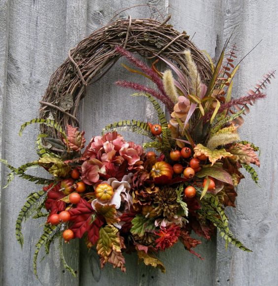 Fall Wreath, Autumn Wreaths, Woodland, Thanksgiving Décor, Pumpkins, Fall Floral Wreath, Elegant Holiday Wreath on Etsy, $169.00