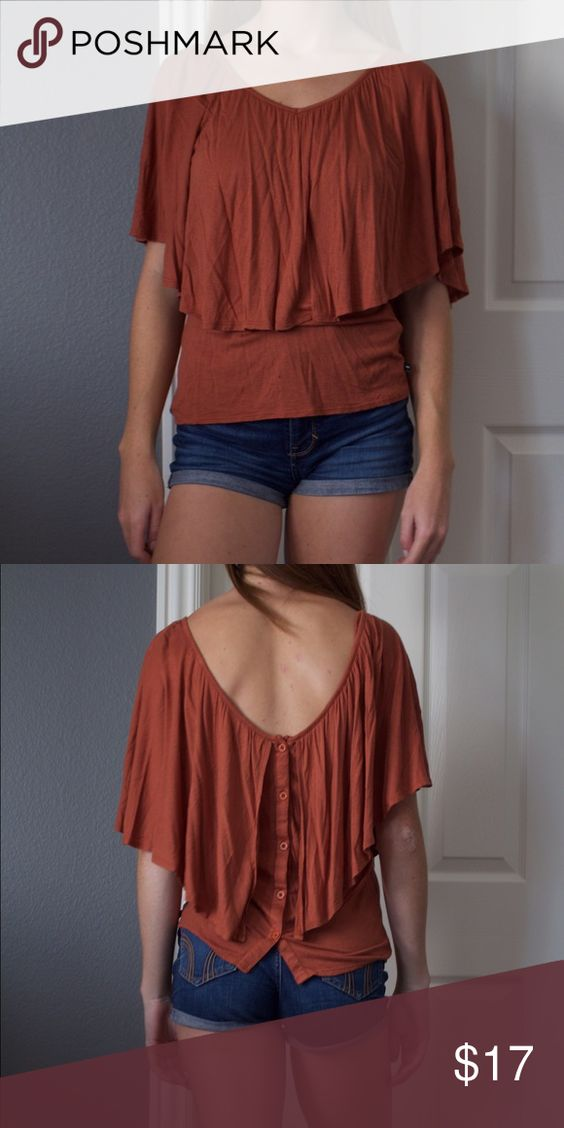 RVCA Rust Layered Top Like new rust colored viscose layered top RVCA Tops Blouses