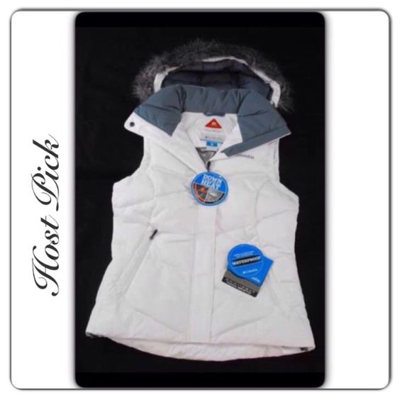 Columbia • Down • Puffer • Vest White/Grey Columbia Lady 'D' Down Vest, Waterproof, Omni Heat Reflective Thermal,  Detachable Hood with Fur. The hood can be worn with fur attached or detached.  Brand • Columbia.  Size • Small.  Chest • underarm across 18.5.  Length • 25.  Fabric • Shell, 100% polyester • Faux Fur, 51% modacrylic, 34% acrylic, 15% polyester • Lining, 100% polyester • Down & Feathers, 80% duck down, 20% feathers.  Condition • NWT, tags are still with vest but no longer…