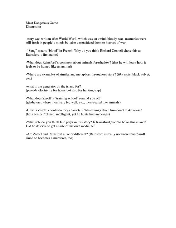 The Most Dangerous Game Vocabulary Worksheet Free Worksheets – The Most Dangerous Game Worksheet