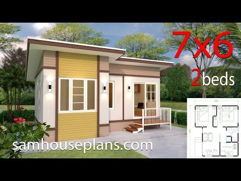 Small House Plans 7x6 With 2 Bedrooms Slop Roofthe House Has Car Parking And Garden Living Room Dini Small House Design House Design Small House Design Plans
