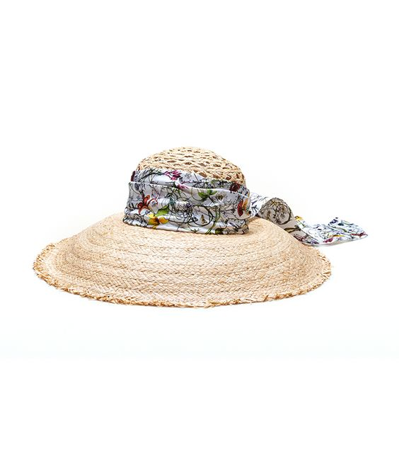 Straw Wide Brimmed Hat With Floral Silk Band