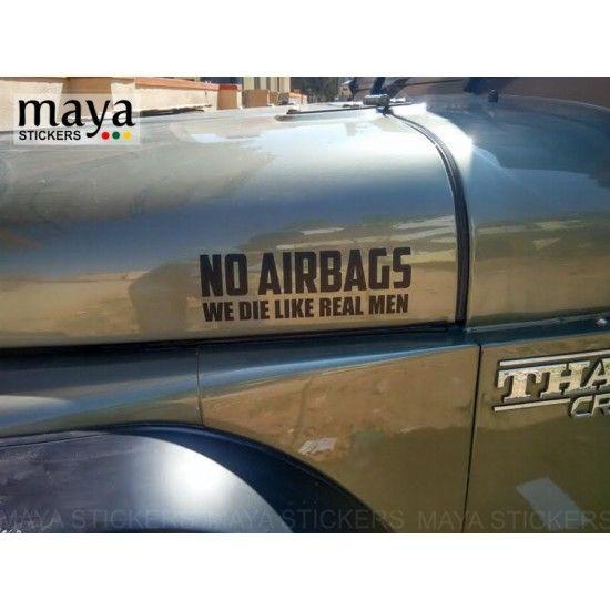 No Airbags We Die Like Real Men Sticker Vinyl Decal Classic Car Bumper Window