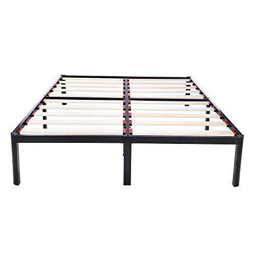V Lx V1403 14 Inch Tall Wooden Slats Metal Bed Frame Queen Black With Images Wooden Slats Bed Frame Metal Bed Frame