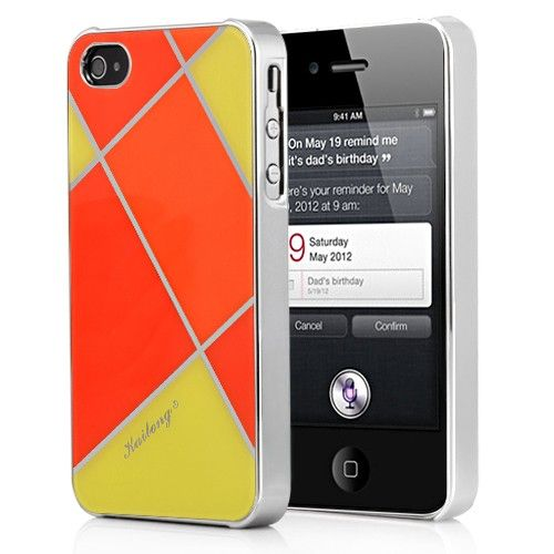 Irregular  Pattern Electroplating Hard Case Cover For iPhone  4S-Orange/Yellow