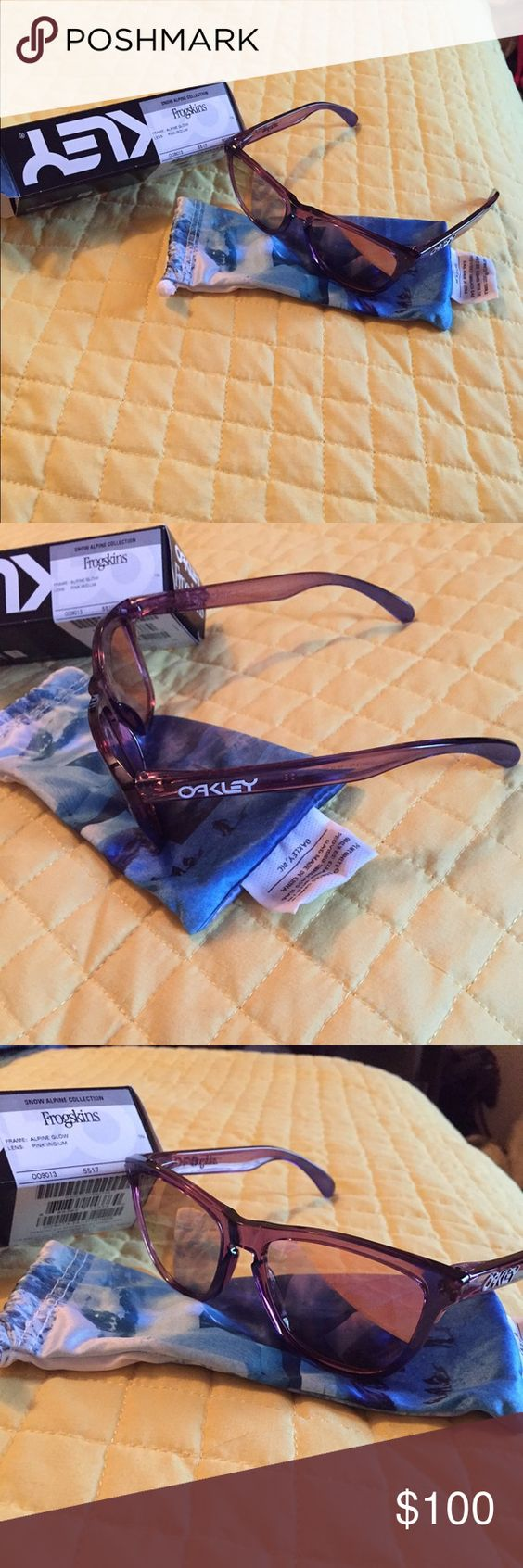 Oakley Frogskins Alpine snow collection OO9013-73 Brand new never worn Oakley Frogskins Alpine Snow collection style OO9013-73. Pink with purple ends with pink iridium non polarized lenses. Comes with original box and microfiber case. Oakley Accessories Sunglasses