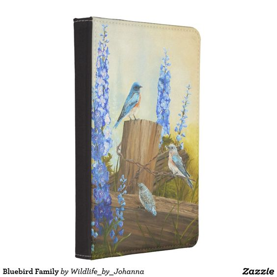 "Bluebird Family Kindle Case. Designed from my original oil painting ""Bluebird Family And Delphiniums"" by Johanna Lerwick Wildlife/Nature Artist.Optional colors to choose from for the back."