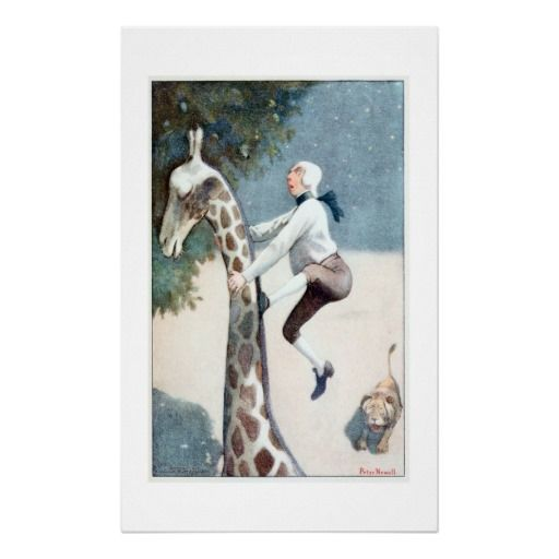 Vintage Fantasy Poster Unusual vintage fantasy poster showing a Victorian man climbing up a giraffe's neck trying to escape a lion...