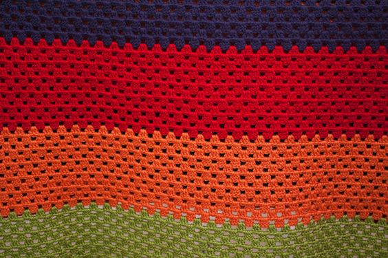 Jack Blue Red Orange and Green Afghan by CWLBoutique on Etsy