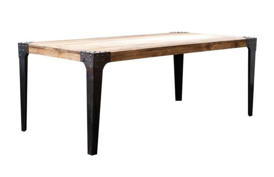 Table A Manger Industrielle Acier Et Bois L200 Cm Madison Table A Manger Industriel Table A Manger Mobilier De Salon