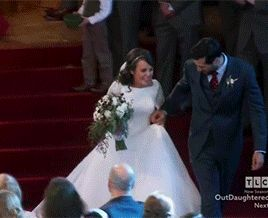 """keepingupwithfundies: """"The newlyweds Jinger and Jeremy Vuolo enjoy their second kiss walking out of church. """""""