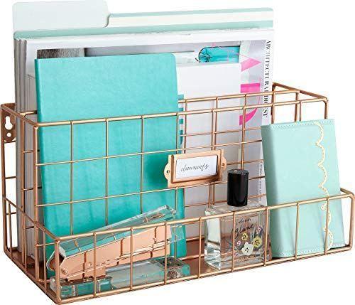 Blu Monaco Rose Gold Desk Organizer Mail Organizer 2 Tier Mail