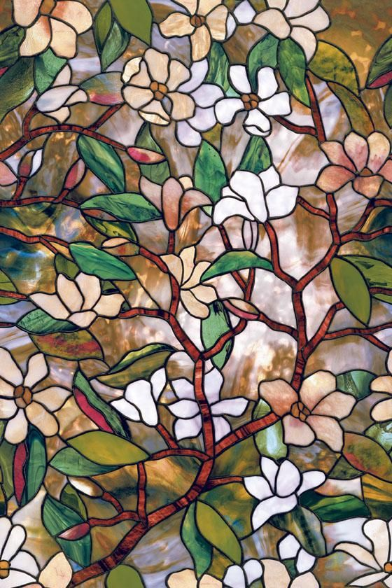 Magnolia Stained Glass Window Film Window Film Art Glass Windows Home Decor Decorative Window Film Stained Glass Window Film Stained Glass Flowers